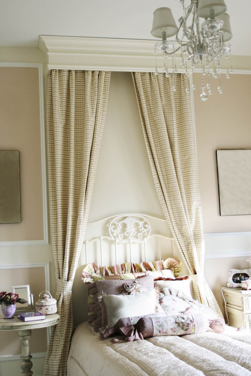 Canopy Drapes To Enhance An Antique Iron Bed Interior