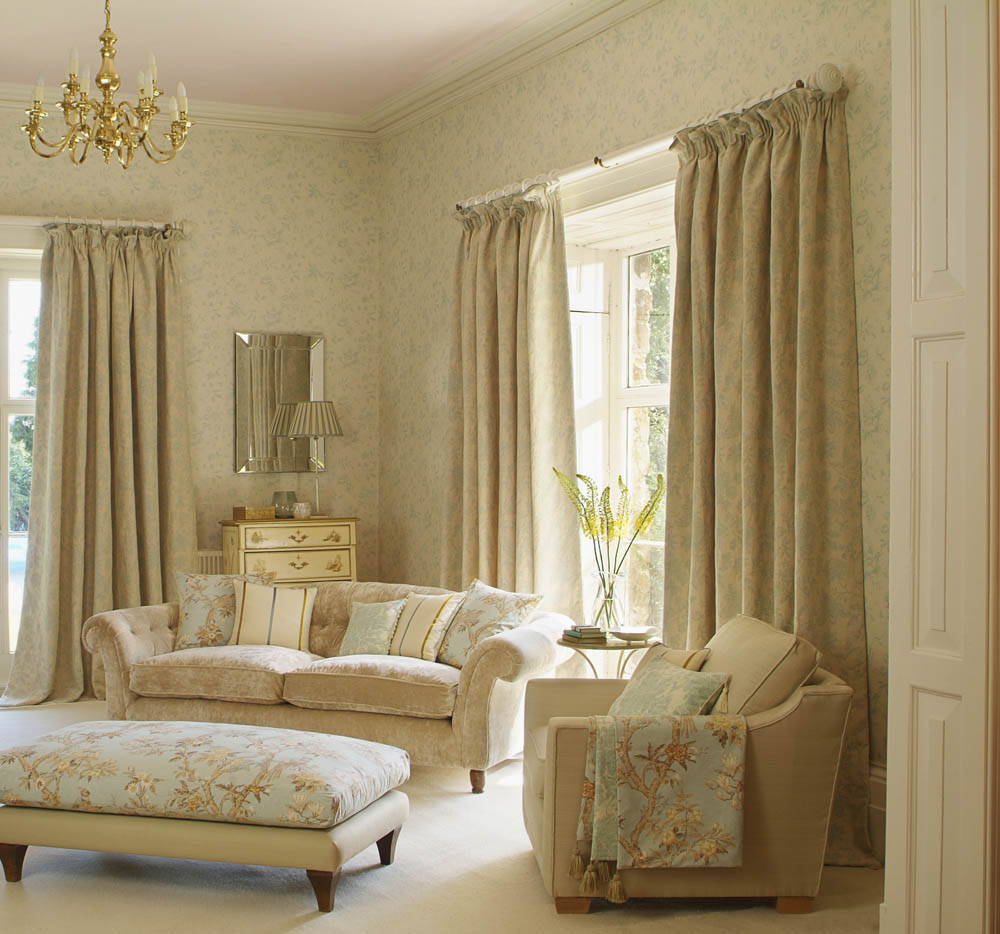 Drapes On A White Drapery Rod Interior Design Window Treatments Curtain Call Creations