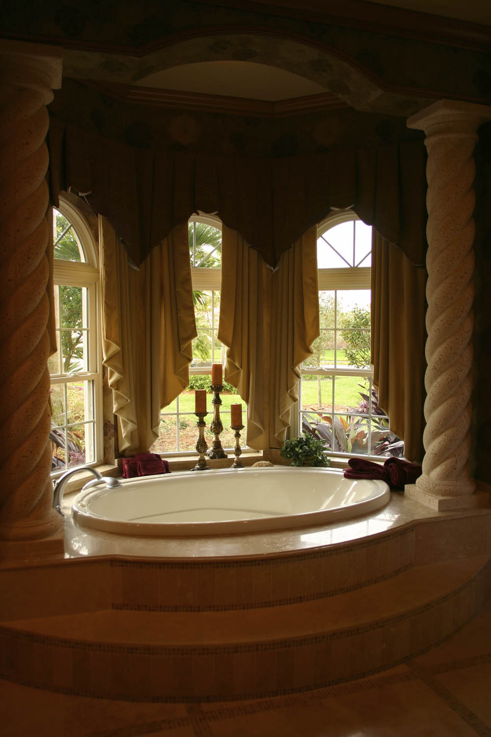Glamorous bathroom window treatment interior design for Interior decorator window treatments
