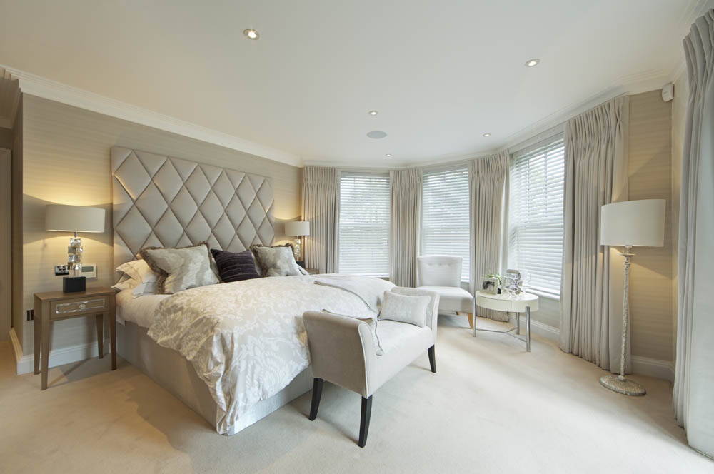 Stunning Gray Master Bedroom Drapery.
